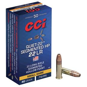 CCI Quiet-22 Segmented HP Rimfire Ammuntion .22 LR 40 gr HP 710 fps 50/ct
