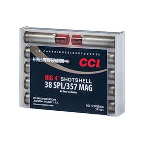 CCI Big 4 Handgun Shotshell Ammunition .38 spl/.357 mag #4 Shot 1000 fps 10/ct