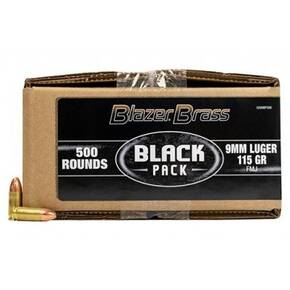 CCI Blazer Brass Black Pack Handgun Ammunition 9mm Luger 115gr FMJ 1145 fps 500/ct