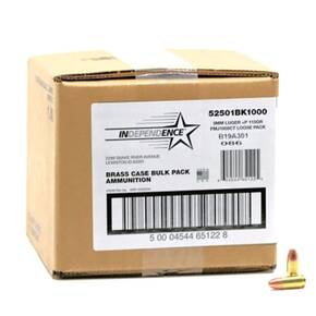 CCI Independence Brass Handgun Ammunition 9mm Luger (+P) 115 gr FMJ 1300 fps 1000/ct (Bulk)