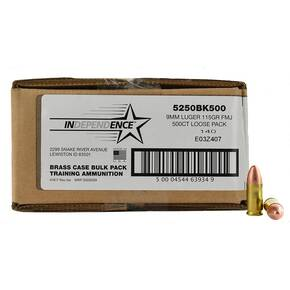 CCI Independence Brass Handgun Ammunition 9mm Luger 115 gr FMJ 1145 fps 500/ct (Bulk)