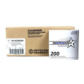 CCI Independence Aluminum Handgun Ammunition .45 ACP 230 gr FMJ 1000/ct