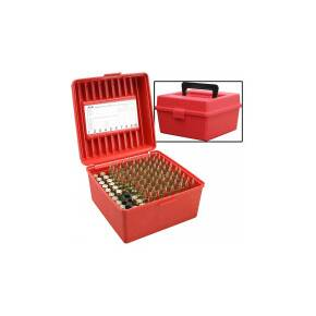 MTM Deluxe R-100 Series Rifle Ammo Box - 100 rd, Red