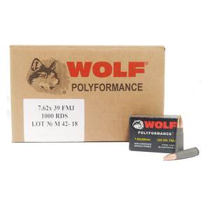 Wolf WPA Polyformance Rifle Ammunition 7.62x39mm 123 gr FMJ 2936 fps 1000/ct