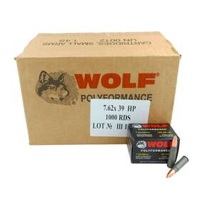 Wolf WPA Polyformance Rifle Ammunition 7.62x39mm 123 gr HP 2936 fps 1000/ct