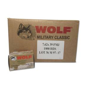 Wolf Military Classic Rifle Ammunition 7.62x39 124 gr FMJ 2330 fps 1000/ct