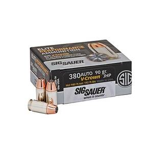 Sig Sauer Elite Performance Pistol Ammunition .380 ACP 90 gr Elite V-Crown JHP 980 fps 50/ct