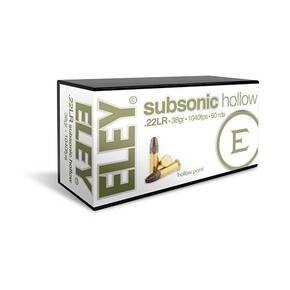 Eley Subsonic Hollow Rimfire Ammunition .22 LR 38gr HP 1040 fps 50/ct