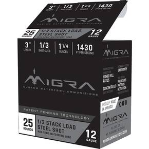 "Migra Waterfowl Steel Shot Shotshells 12 ga 3"" 1-1/4 oz 1430 fps #1,#3 25/ct"