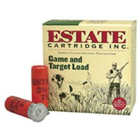 "Estate Cartridge Game & Target Shotshells 12 ga 2 3/4"" 3 1/4 dr #8 25/ct"