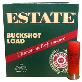"Estate Cartridge High Velocity Low Brass Shotshells 12ga 2-3/4"" 9 Pellet 1325 fps #00 25/ct"