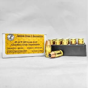 Jamison Handgun Ammunition .45 ACP 185 gr HAP 985 fps 20/box