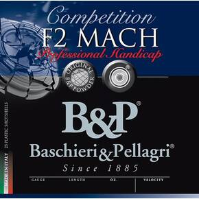 "B&P F2 Mach Professional Handicap Shotshells 12 ga 2-3/4"" 1-1/8oz 1250 fps #8.5 25/ct"