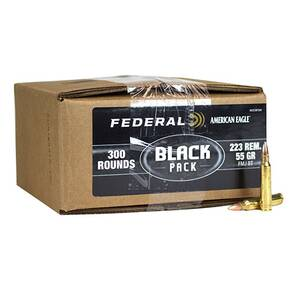 Federal American Eagle Black Pack Ammunition .223 Rem 55 gr FMJBT 3240 fps 300/ct