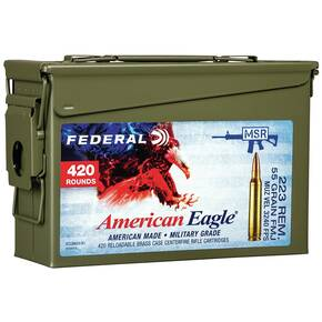 Federal American Eagle Rifle Ammunition .223 Rem 55gr FMJ 3240 fps 420/ct (Ammo Can)