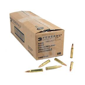 Federal American Eagle Rifle Ammunition .223 Rem 55 gr FMJ 3240 fps - 500/ct