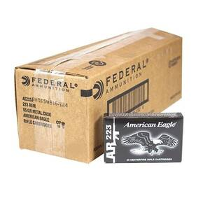 Federal American Eagle Rifle Ammunition .223 Rem 55 gr FMJBT 3240 fps - 1000/ct