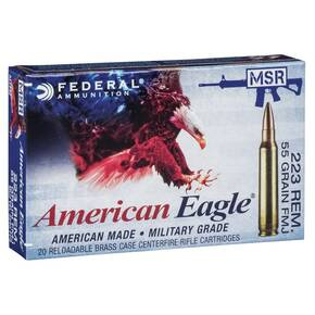 Federal American Eagle Rifle Ammunition .223 Rem 55 gr FMJ 3020 fps 20/ct