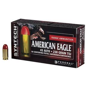 Federal American Eagle Syntech Handgun Ammuntion .45 ACP 230 gr TSJ 830 fps 200/ct