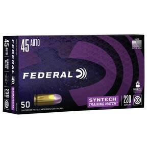 Federal Syntech Training Handgun Ammunition .45 ACP 230 gr TSJ 890 fps 50/ct