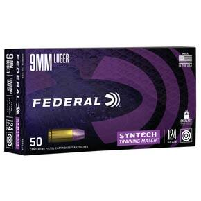 Federal Syntech Training Handgun Ammunition 9mm Luger 124 gr TSJ 1050 fps 50/ct