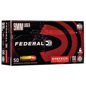 Federal Syntech PCC Ammuntion 9mm Luger 130 gr TSJ 1030 fps 50/ct