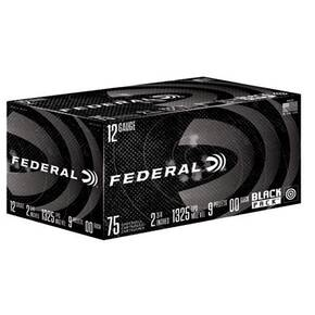 Federal power Shok Black Pack Shotshells 12ga 2-3/4 1-3/16 1325 fps #00 75/ct