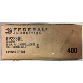 Federal Champion Rifle Ammunition .223 Rem 55 gr FMJ 3020 fps 400/ct