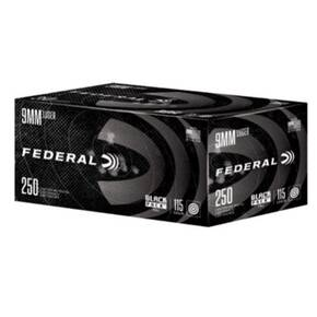 Federal Black Pack 9mm Luger 115gr FMJ 1145 fps 250/ct