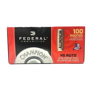 Federal Champion Aluminum Handgun Ammuntion .45 ACP 230gr FMJ 890fps 100/ct