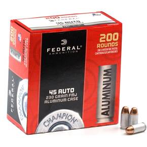 Federal Champion Aluminum Handgun Ammuntion .45 ACP 230gr FMJ 890fps 200/ct