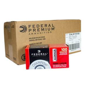 Federal Champion Aluminum Handgun Ammunition 9mm Luger 115gr  FMJ 1180 fps 1000/ct