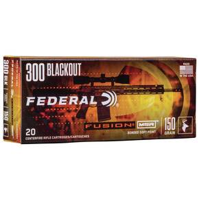 Federal Fusion MSR Rifle Ammunition .300 Blackout 150 gr SP 1900 fps 20/ct