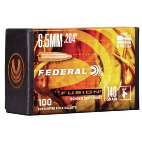 "Federal Fusion Component Bullets 6.5 cal .264"" 140 gr Bonded Soft Pt 100/rd"