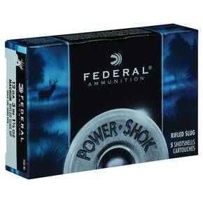 "Federal Power-Shok Shotshells 12ga 3"" 1-1/4oz 1600 fps HP Rifled Slug 5/ct"