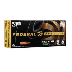 Federal Premium Gold Medal Sierra MatchKing Rifle Ammunition .223 Rem 69 gr BTHP 2950 fps - 20/box