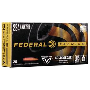 Federal Gold Medal Berger Hybrid Rifle .224 Valkyrie 80.5 gr BTHP 2925 fps 20/ct
