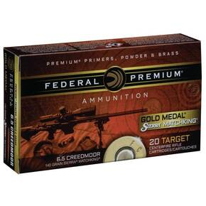 Federal Gold Medal Rifle Ammunition 6.5 Creedmoor 140 gr HPBT 2675 fps 20/ct