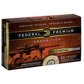 Federal Gold Medal Berger Hybrid Rifle Ammunition 6mm Creedmoor 105gr BTHP 3025 fps 20/ct