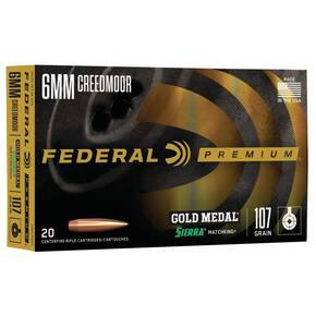 Federal Premium Gold Medal Sierra Matchking Ammunition 6mm Creedmoor 107 gr BTHP 3000 fps 20/ct