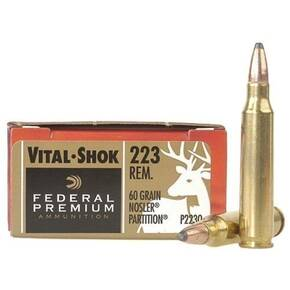 Federal Premium V-Shok Rifle Ammunition .223 Rem 60 gr PT 3160 fps - 20/box