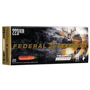 Federal Premium Vital-Shok Trophy Copper Rifle Ammunition .223 Rem 55 gr Poly Tip 3240 fps 20/ct