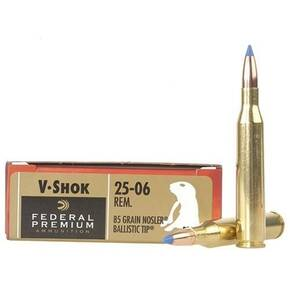 Federal Premium V-Shok Rifle Ammunition .25-06 Rem 85 gr BT 3550 fps - 20/box
