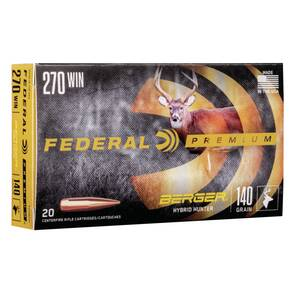 Federal Classic Hunter Berger Hybrid Rifle Ammunition .270 Win 140 gr BTHP 2950 fps 20/ct