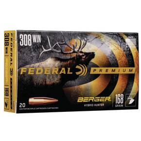 Federal Classic Hunter Berger Hybrid Rifle Ammunition .308 Win 168 gr BTHP 2800 fps 20/ct