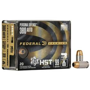 Federal Personal Defense Hydra-Shok Deep Handgun Ammuniton .380 ACP 99 gr HSD 1030 fps 20/ct