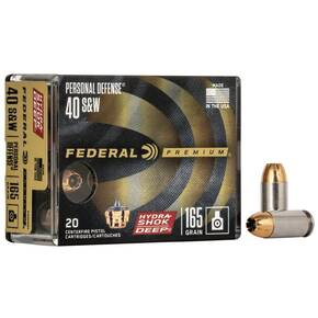 Federal Personal Defense Hydra-Shok Deep Handgun Ammuniton .40 S&W 165 gr HSD 1050 fps 20/ct