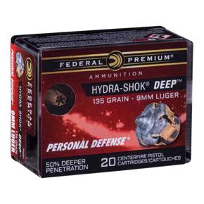 Federal Premium Hydra-Shok Deep Handgun Ammunition 9mm Luger 135gr HP 1060 fps 20/ct