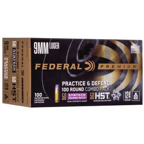 Federal Practice & Defend HST/Syntech Combo 9mm Luger 124 gr 1150 fps 100/ct