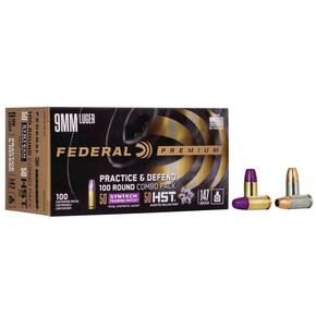Federal Practice & Defend HST/Syntech Combo 9mm Luger 147 gr 1000 fps 100/ct
